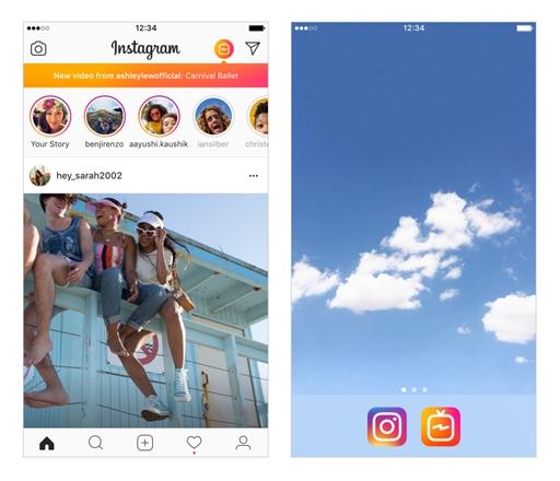 Botão de acesso ao IGTV dentro e fora do Instagram