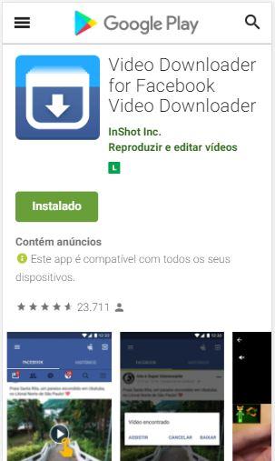 Baixar app Vídeo Downloader for Facebook da Play Store