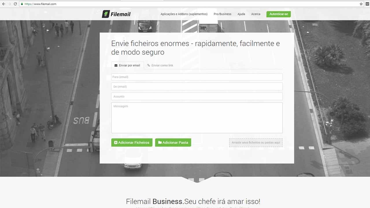 Enviar arquivos grandes por e-mail com Filemail