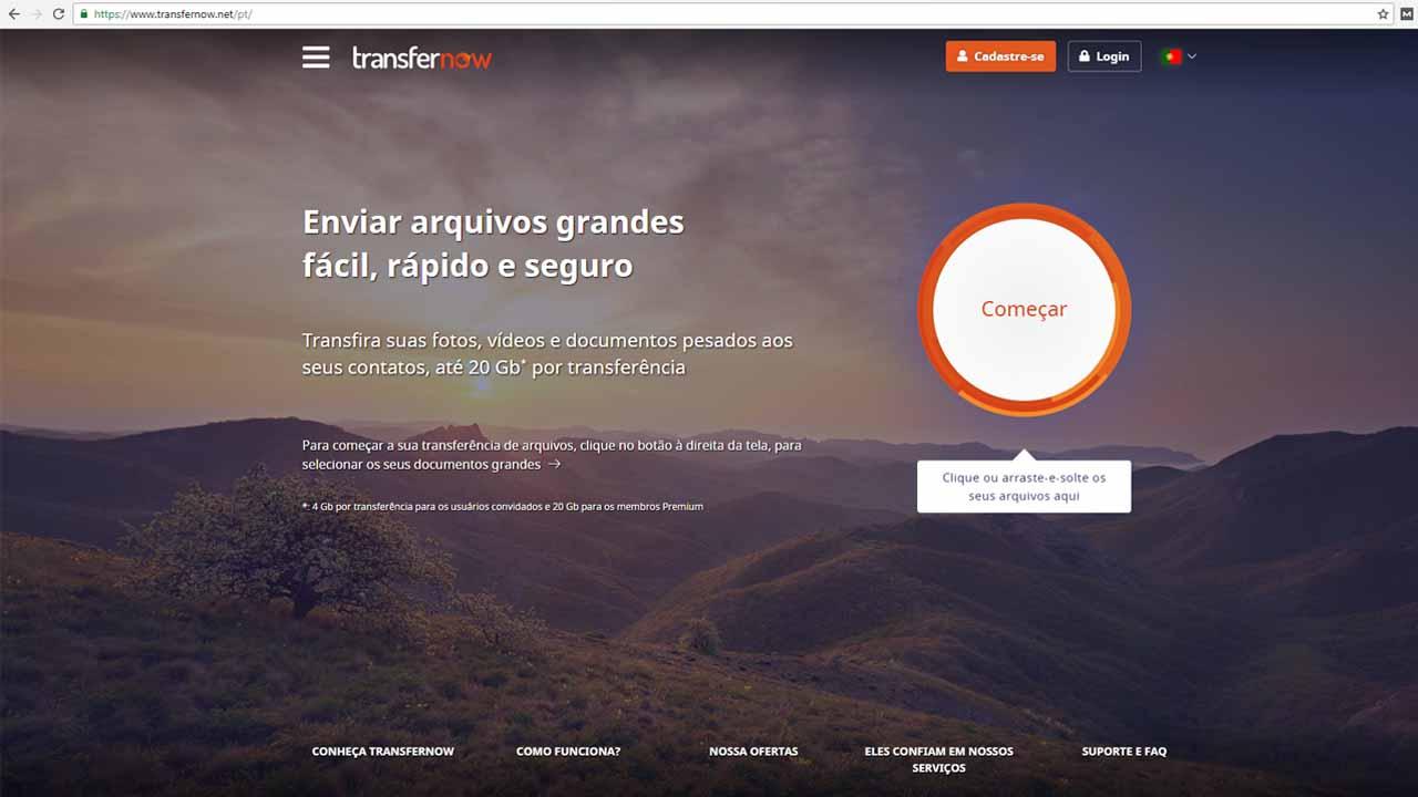 Enviar arquivos grandes por e-mail com Transfer Now