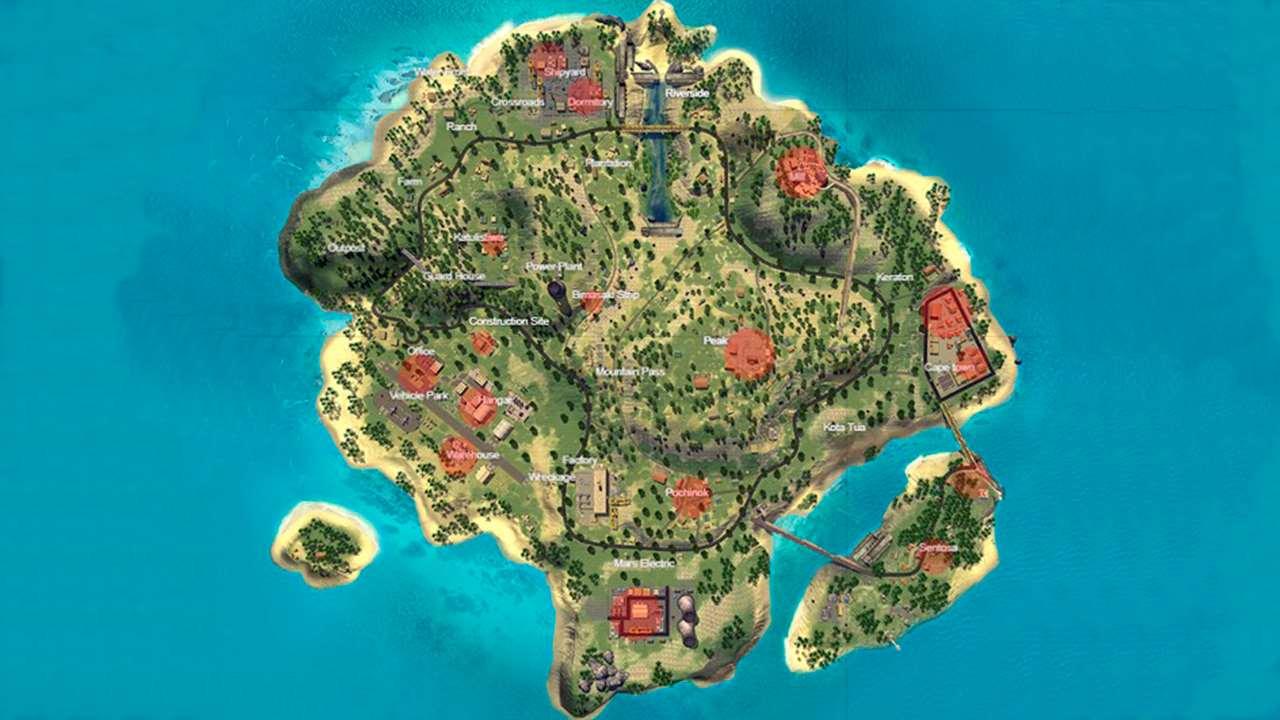 Mapa da ilha no Free Fire.