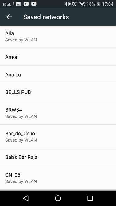 Lista de redes Wi-Fi que seu celular já conectou