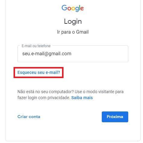Recuperar acesso ao e-mail