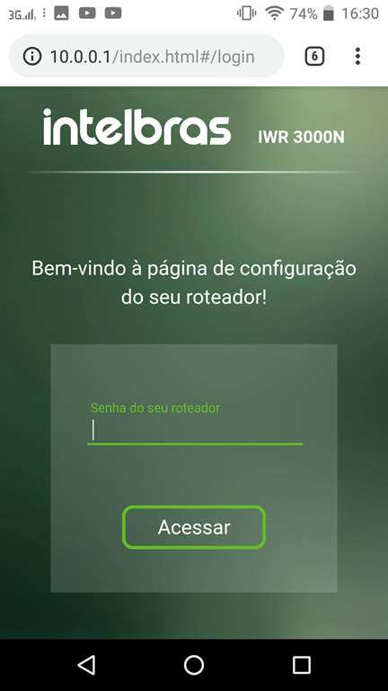 Tela de login do roteador