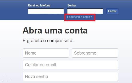 Tela login Facebook