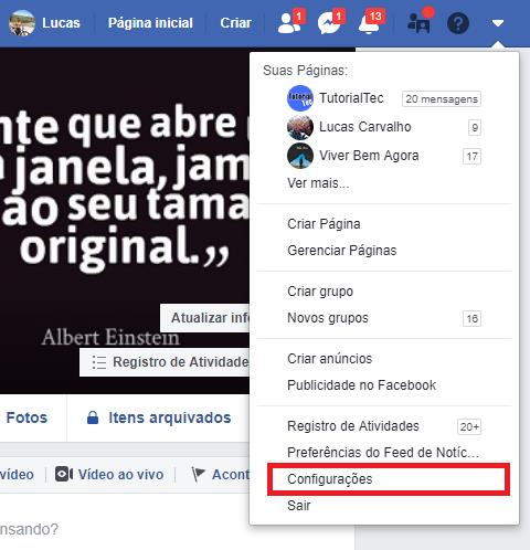 Menu do facebook