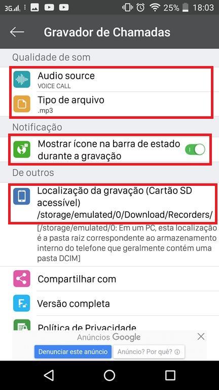 Configurações adicionais do app