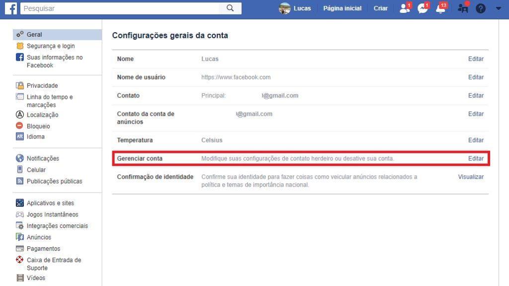 Gerenciar conta Facebook
