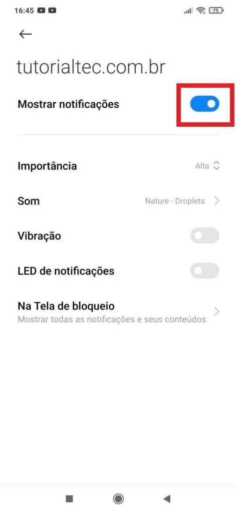 desativar as notificações de sites no navegador Chrome