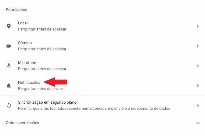 Notificações do Chrome