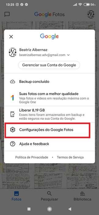 Configurações Google Fotos
