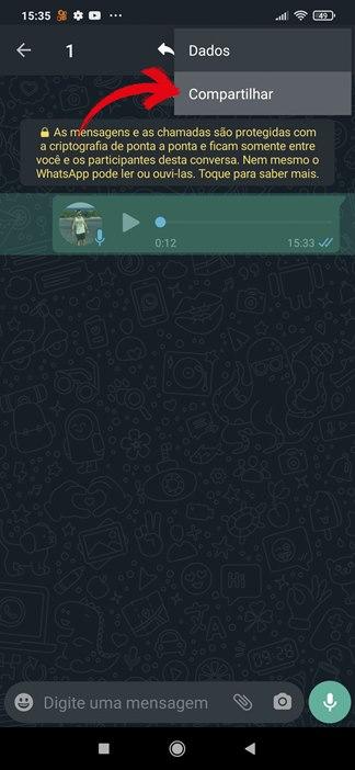 Selecionar áudio no WhatsApp